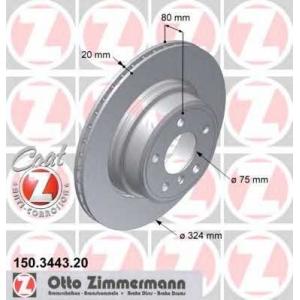 ZIMMERMANN 150.3443.20 Brake disk, rear L/R BMW X5 (E53) 4.4/4.6/4.8 02.02-09.06