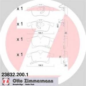ZIMMERMANN 238322001 передние Opel Astra G 1.8-2.2i , Astra H 1.4-2.0i