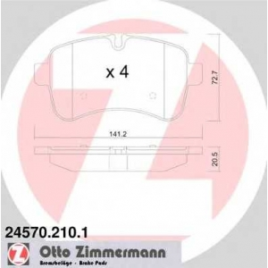 ZIMMERMANN 245702101 Комплект тормозных колодок, дисковый тормоз