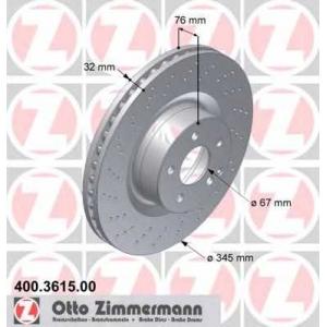 ZIMMERMANN 400361500 передн. вентил. W220 S600, CL600, S55, CL55 AMG (345x32)