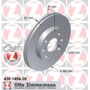 ZIMMERMANN 430.1494.20 Диск гальмівний перед. Opel Corsa C 1.0I-1.2I 00- +ABS (240x20)